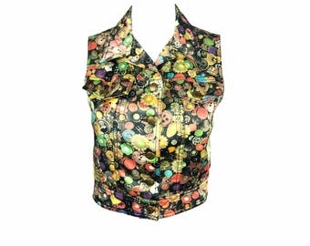 MOSCHINO Rare Vintage 1990s Button Print Cropped Vest Top Logo Peace Sign Buttons 80s Style Blouse