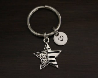 Flag Star Key Ring/ Keychain / Zipper Pull - Flag Keychain - Star Keychain - Military Wife Keychain - America Lover Keychain - I/B/H