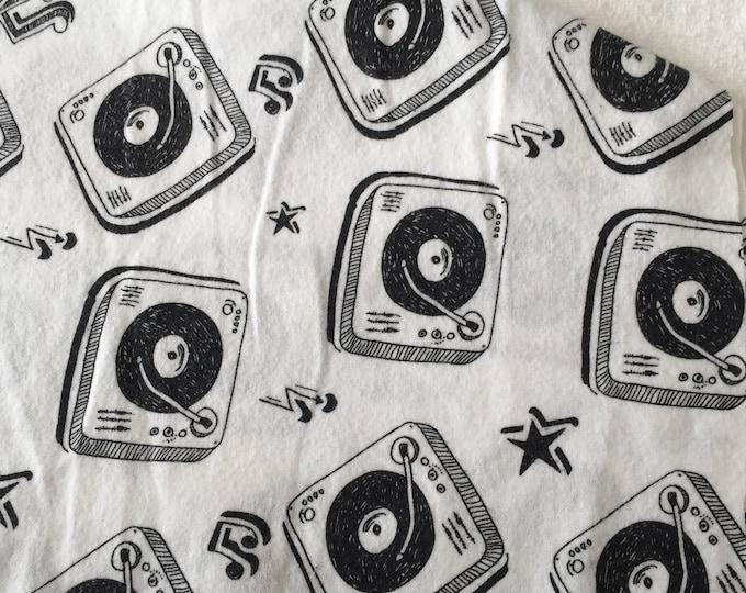 three pack black and white retro record player burp cloths
