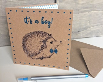 New Baby Boy Card, hedgehog with blue bow illustrated congratulations greetings card for new parents, grandparents. Recycled square card UK