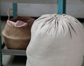 Big linen laundry bag, 12 colours. Stonewashed linen storage bag.