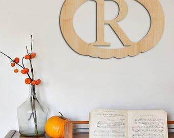 Pumpkin, Halloween Decor, Fall Decor, Pumpkin Door Wreath, Door Hanger, Wall Hanging, Seasonal Gift, Wooden Letter