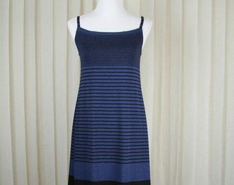 Striped Sundress in Black-Blue stripes • Summer Dress • Spaghetti Dress