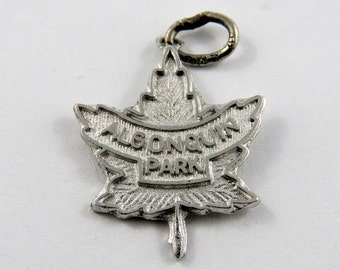 Canadian Maple Leaf Featuring Famous Algonquin Park Ontario Canada Sterling Silver Charm or Pendant.