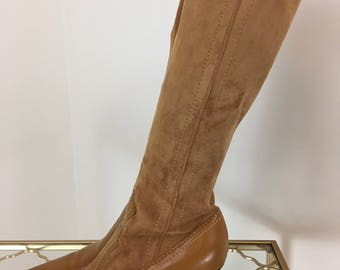1990s Boots - Tall Caramel Brown Vegan Boots - Faux Suede - Fitted High Heel Boots - Franco Sarto - 7 US - Vegan Animal Friendly Boots