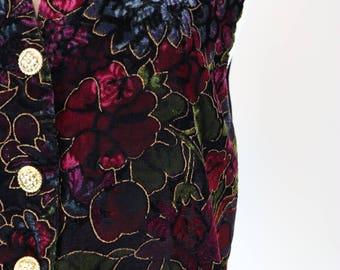 1980s Vest - Velvet Floral Vest - Baroque Pattern Velvet Waistcoat - Metallic - Vintage Boho - Festival Hippie Style -  Size Medium