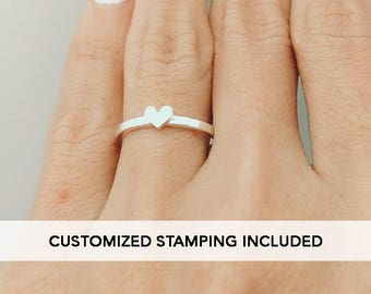 Purity Ring in Sterling Siver, Tiny Heart Ring, Dainty Ring