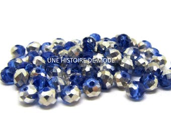 85 beads rondelle faceted Crystal 3 x 4 mm dark blue and silver grey