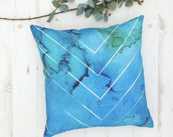 Abstract cushions, Blue Watercolour Aqua designer pillow cover, seaside cushion, throw pillows, cushions, pillows