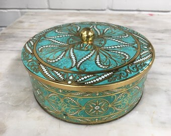 vintage Daher tin, embossed turquoise gold black white round candy or biscuit tin, made in England