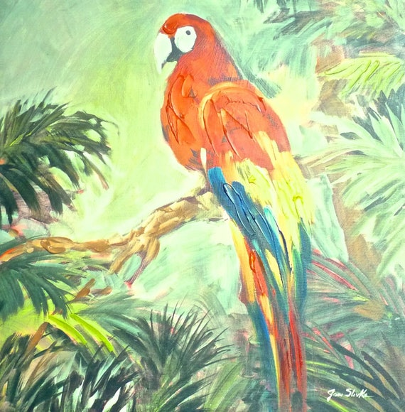PARROT ACRYLIC PAINTING ~ Jane Slivka ~ Premium Thick-Wrap Canvas ~ Entitled Parrots at Bay I ~ Wall Art ~ 18 Inches by 18 Inches