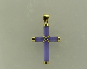Lavender Jade Cross Pendant with Sterling Silver Gold Plated
