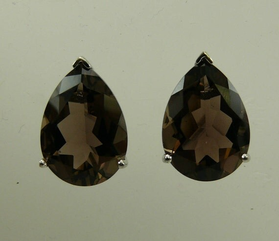 Smokey Topaz Pear Shape Earring with Sterling Silver Omega Backs