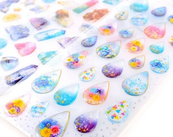 Kawaii Japanese Sticker Sheet Lunar Tears Colorful & Glittery Epoxy Stickers with Gold Accents
