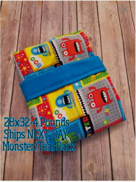 Monster, 4 Pound, WEIGHTED BLANKET, Monster, Ready To Ship, 4 pounds, 28x32 for Autism, Sensory, ADHD, Calming, Anxiety,