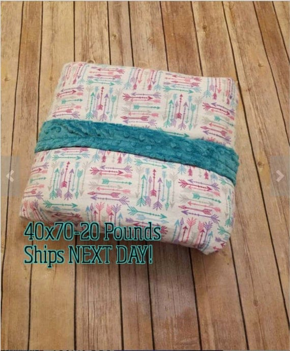 Minky Weighted Blanket, 20 Pound, Arrows, Teal Minky, 40x70, READY TO SHIP, Twin Size, Adult Weighted Blanket, Next Business Day To Ship