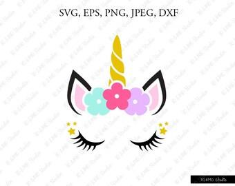 Unicorn SVG, Unicorn head Svg, Unicorn Clip Art, Unicorn Face SVG, Cute Unicorn SVG, Cricut, Silhouette Cut File Chevrons