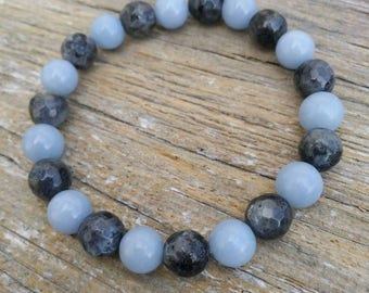 "Angelite and Black Labradorite Healing Bracelet ""Calm Among the Storm"""