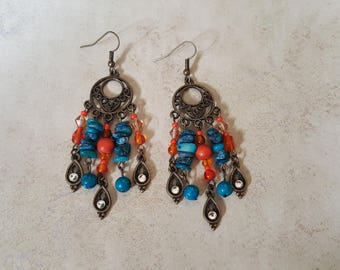 Bohemian Earrings - Rustic Earrings - Gypsy Earrings - Boho Earrings - Hippie Earrings - Chandelier Earrings - Antique Bronze Earrings