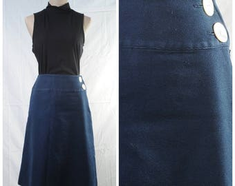 Vintage navy A-line skirt with big decorative buttons