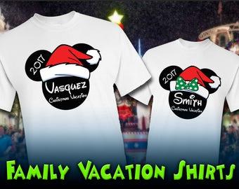 Disney Christmas Vacation Shirts - Family Name Customized Mickey & Minnie - Disney Christmas Shirts (White)