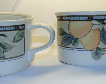 TWO Mikasa Intaglio Garden Harvest Mugs Cups CAC29 set of 2 Cups EXCELLENT!