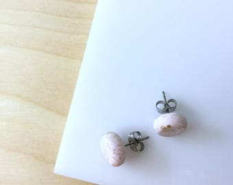 Pale pink studs, matte pink earrings, round studs, small flat studs, blush stud earrings, polymer clay jewelry, everyday earrings