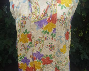 1920s Asian Style Blouse 1930s Floral Silk Pongee
