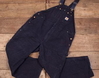 "Mens Vintage Carhartt Navy Blue Workwear Bib Overalls Dungarees 46"" x 32"" R7876"