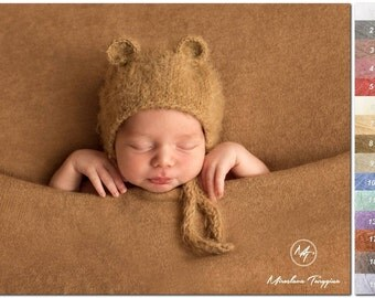 Newborn bear hat and tieback | Different colors |  Newborn bear  bonnet and tieback | Animal hat |  Bear props | Newborn animal bonnet