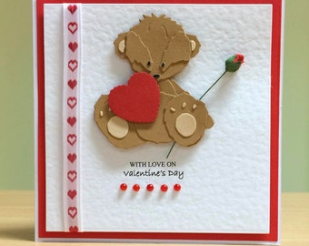Valentine's Card - Cute Valentine Card - Cute Teddybear Valentine Card For Husband/ Wife/. Boyfriend/ Girlfriend / One I Love - Handmade