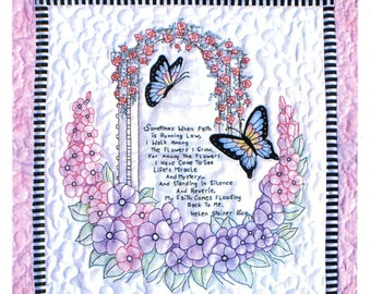 Faith Quilt by Bobbie G. Designs:  quilt pattern with hand embroidery.