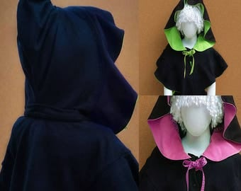 Halloween Toddler  Costume, Witch Cape Hoodie,  Multiple Colors Choices with Black, Sizes -12M and 4T