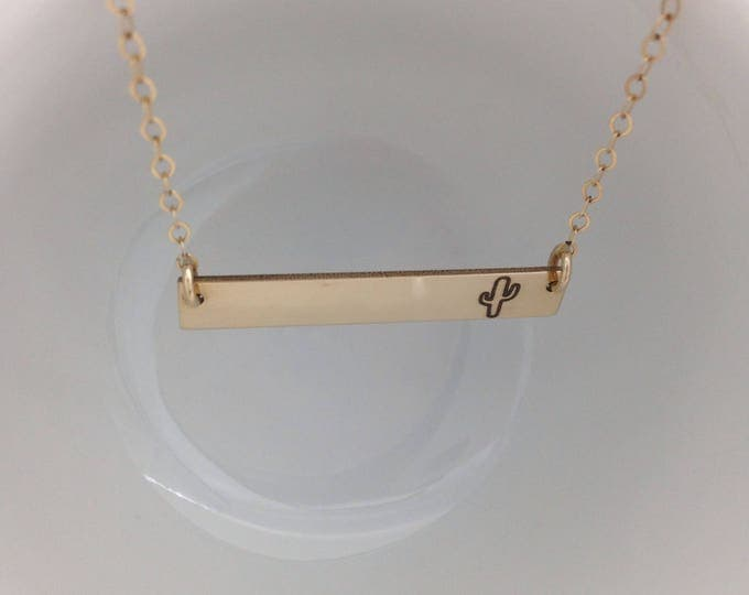 Cactus Horizontal Bar Necklace - Sterling Silver, Gold, or Rose Gold Filled- Custom Back Engraving Options- Summer Boho Inspired