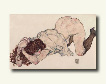 Printed On Textured Bamboo Art Paper- Kneeling Girl Resting On Both Elbows 1917 - Egon Schiele Print Schiele Poster Gift Idea Schiele Art bp