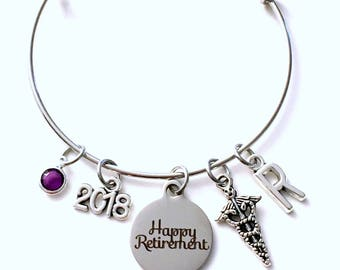 Retirement Gift for Medical Lab Technician, DPT BSN Caduceus Charm Bracelet Jewelry Silver Bangle Coworker initial birthstone Present BSN