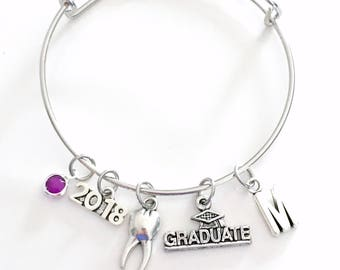 Dental Hygienist Graduation Bracelet Dentist Gift 2018 2019 2020 2017 RDH DH Surgeon Orthodontist Silver Jewelry Personalized Initial DDS