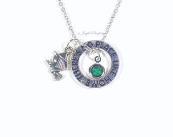 Wicked Necklace, Elphaba Jewelry, Wicked Musical Gift, The Wizard of Oz Present, Witch gift for Teen Girl Silver Charm Birthstone Emerald