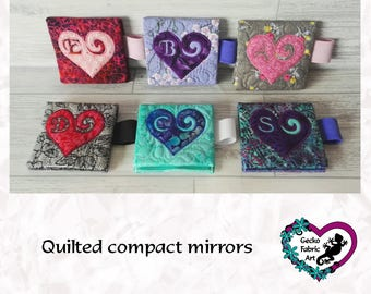 Quilted compact mirror with lipstick loop, handbag mirror, compact, bespoke design, teacher gifts, gifts for her, mother's day gifts