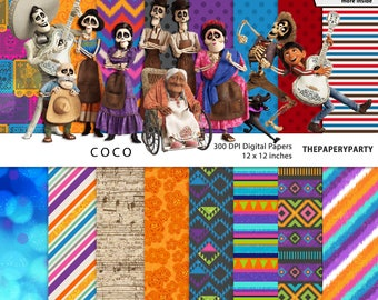 Coco New Mexican Movie Inspired Digital Scrapbook Papers 12 x 12 inches, 300 dpi quality