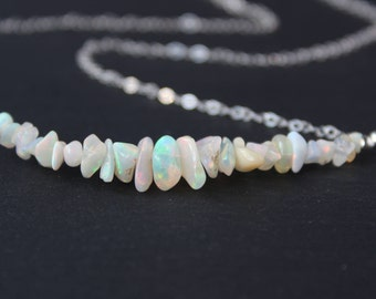 Opal Necklace, Raw Opal Necklace, Opal Rough Necklace, Gemstone Bar Necklace, Dainty Gemstone Necklace, Fire Opal