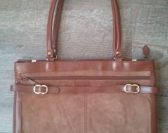 Vintage Tan Leather and Suede Satchel Handbag