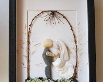 Pebble art wedding bride and groom , Unique Personalized Wedding art gift , personalized bride and groom art, sea shells wedding art,
