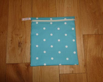 Toiletries Bag - Make Up Bag -  Bikini Bag -  Sandwich bag  -  Eco - Craft Bag - Large Poppins Waterproof Lined Zip Pouch - Blue White Dot