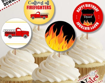 Fire Truck Cupcake Toppers, Firefighter Cupcakes, Fire Truck Party, Fire Truck Tags, Fireman Birthday Party, Fireman Party Decor | PRINTABLE