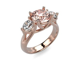 14k Rose Gold Morganite Ring Rose Gold Engagement Ring Morganite Diamond Engagement Ring Morganite Engagement Ring Morganite Rose Gold Ring