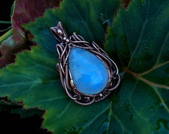 Wire wrapped copper Victorian pendant with Rainbow Moonstone gemstone