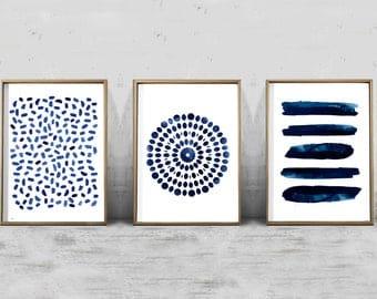 Set of 3 Abstract Watercolor Prints Indigo Blue art Navy Wall art Stripes Dots Coastal Decor Boho Minimalist art Blue Paintings Modern art