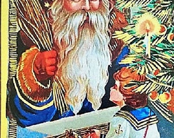 """Vintage Gold Gilded CHRISTMAS POSTCARD Victorian Era """"Father Christmas at the Window"""" MINT Condition Merrimack Publishing Company"""