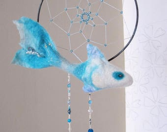 Felted Blue Fish ornament, Blue Fish Decoration, Fish Dream Catcher, Nuno Felt Fish Pendant, Nuno felt fish dreamcatcher, design decoration